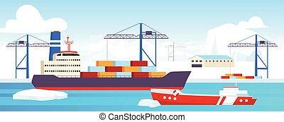 hajózás, lakás, center., icebreaker, gleccser, 2, rév, dokkolt, vektor, háttér., ipari, karikatúra, arctic befest, észak, táj, konténer, tenger, hajógyár, poláris, lengyel, udvar, illustration.