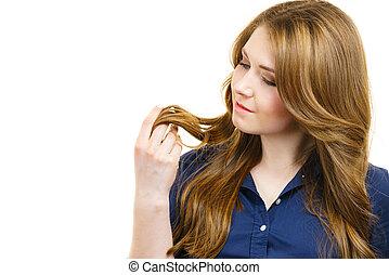 haj, barna, egészséges, hosszú, nő
