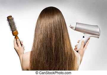 haj, barna, hosszú