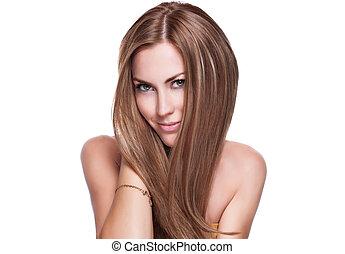 haj, finom, nő, fényes, hosszú