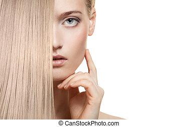 haj, girl., egészséges, hosszú, gyönyörű, szőke