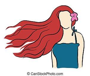 haj, gyönyörű, leány