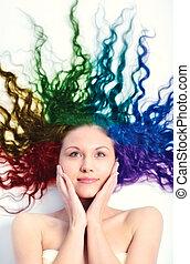 haj, hosszú, nő, fiatal, göndör