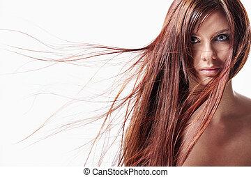 haj, leány, hosszú