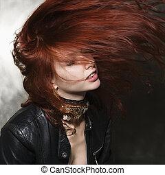 haj, nő, blowing.