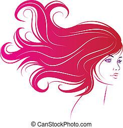 haj, nő, fekete, hosszú arc