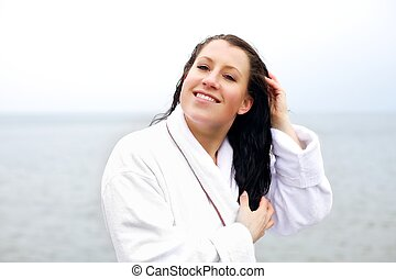 haj, nő, ujjak, neki, fésülés