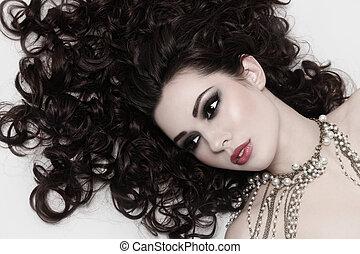 haj, szépség, göndör