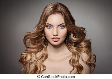 haj, szépség, portrait., göndör, hosszú