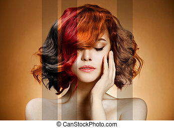 haj, szépség, portrait., színezés, fogalom