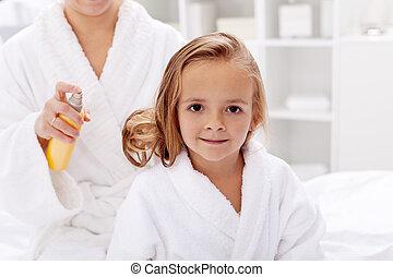 haj, után, törődik, fürdőkád