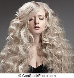 haj, woman., göndör, szőke, hosszú, gyönyörű