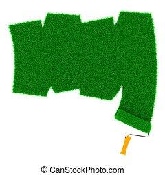 hajcsavaró, húzott, zöld, füves, út