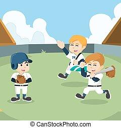 hajlandó, kiképez, baseball sportcsapat