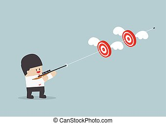hajtás, lövedék, két, egy, üzletember, céltábla
