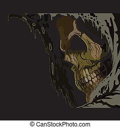 halál, hood., koponya