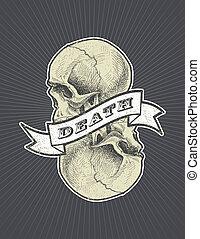halál, koponya, aláír, vektor, eps8, szalag