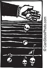 halál, szemesedik