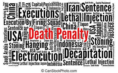halálbüntetés, szó, felhő, fogalom