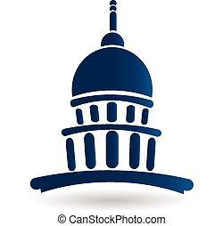 halánték, épület, kongresszus székháza washingtonban, jel, ikon