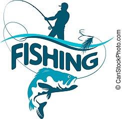 halász, árnykép, fish, csalogat