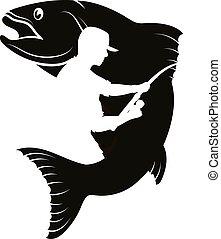 halász, árnykép, fish