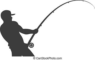 halász, árnykép, vektor, rúd, halászat