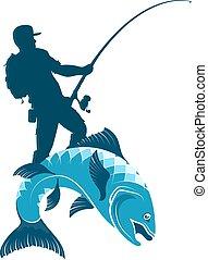halász, beakad, árnykép, fish