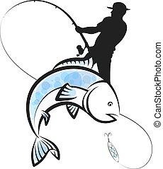 halász, beakad, tervezés, fish