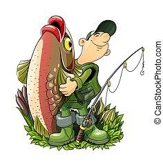 halász, eps10, fish, vektor, rod., illustration., fishing.