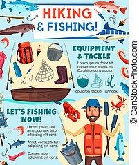 halász, felszerelés, fish, idegenforgalom, halászat