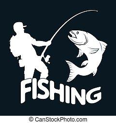 halász, fish, árnykép