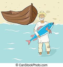 halász, fish, öreg, ashore.