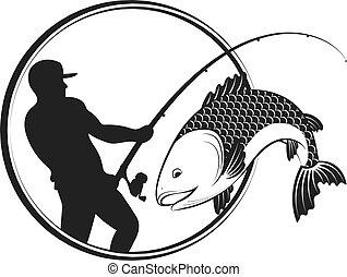 halász, fish, rúd, halászat