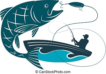 halász, fish, ugrás, csalogat, csónakázik