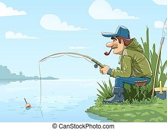 halász, folyó, rúd, halászat