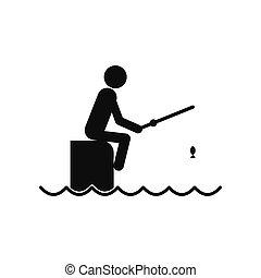 halász, móló, rúd, ülés, ikon