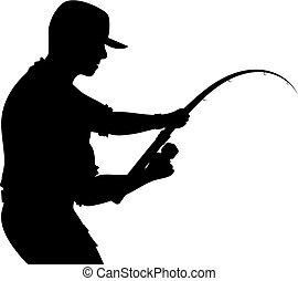 halász, rúd, árnykép, halászat