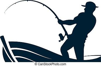 halász, rúd, halászhajó