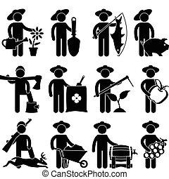 halász, vadász, kertész, farmer