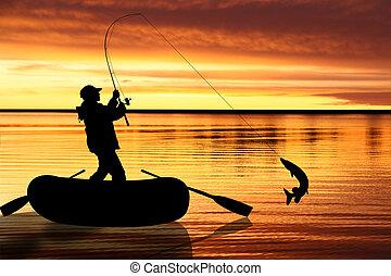 halászat, ábra, slicc