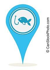 halászat, elhelyezés, ikon