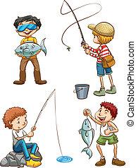 halászat, férfiak, skicc