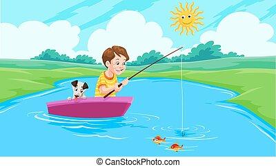 halászat, tó, ábra