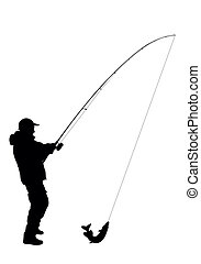 halászat, vektor, -
