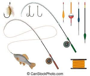halászterület, termelő, set., ikonok, rúd, horgászorsó, suppliers