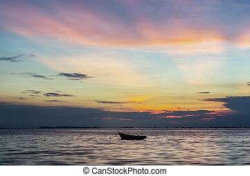halk élet, tengerpart., napkelte