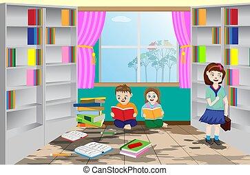 hallgató olvas, könyvtár, tervezés, vektor, kevés