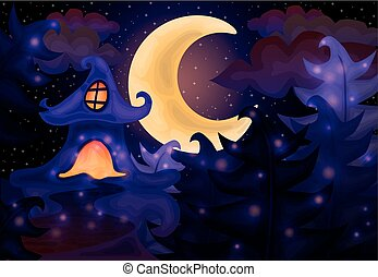 halloween éjszaka, háttér, épület
