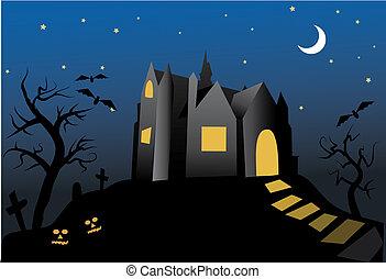 halloween-, öreg, kísért épület